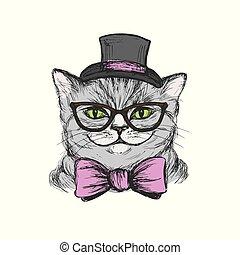 fason, tie., łuk, kapelusz, kot, okulary