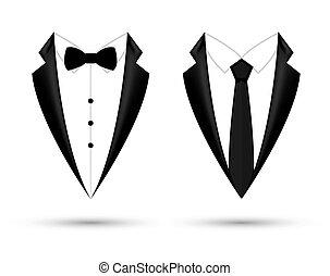 fason, tie., handlowy, odizolowany, łuk, marynarka, czarne tło, garnitur, projektować, ikona, człowiek