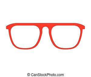 fason, ułożyć, odizolowany, projektować, czerwony, okulary