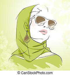 fason, wiosna, kolor, zielony, portret, dziewczyna