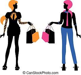 fason, zakupy, jasny, odizolowany, sylwetka, wektor, kobiety