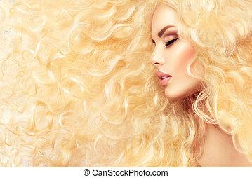 fason, zdrowy, kudły, falisty, blond, dziewczyna