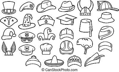 fedora, komplet, sombrero, kapelusze, korona, mistrz kucharski, kreska, hełm, różny, policja, ikony, (cowboy, beret, wiking, baseball, fez, wojskowy, pirat, typy, kaptur, czarodziej, kapitan, oficer, cienki, cyclist), rudzik