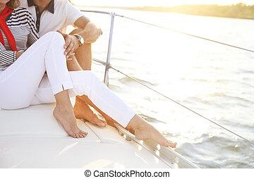 feet, morze, pokład, stting, para, żaglówka