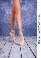 feet, obuwie, pointe, młody, balerina