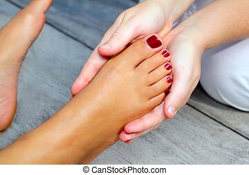 feet, refleksologia, kobieta, terapia, masaż