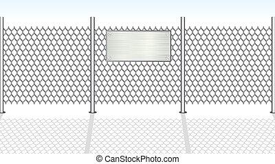 fence., wektor, chainlink, ilustracja