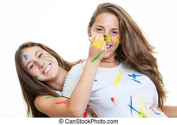 figlarny, teen dziewczyny, malować