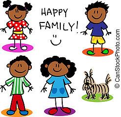 figura, czarnoskóry, wtykać, rodzina
