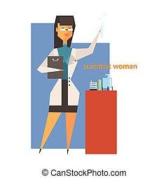 figura, kobieta, abstrakcyjny, naukowiec