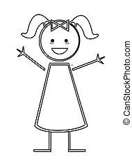 figura, wtykać, dziewczyna, szczęśliwy, warkocze, ikona