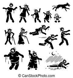 figury, infected, wtykać, design., litera, zombie, rodzina