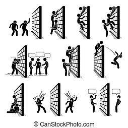 figury, ludzie, ściana, wtykać, icons., piktogram