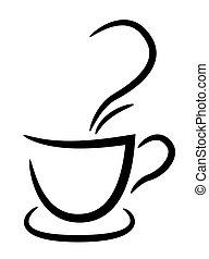 filiżanka do kawy, ilustracja, tło, czarnoskóry, biały