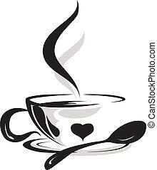 filiżanka do kawy, sylwetka, kochanek