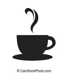 filiżanka herbaty, ikona, wektor, graficzny, kubeczek kawy