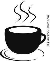 filiżanka, kawa, wektor, ikona