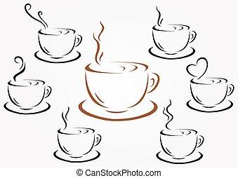 filiżanki kawy, herbata, albo