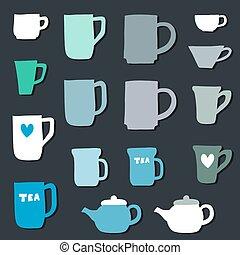 filiżanki, kubeczki kawy