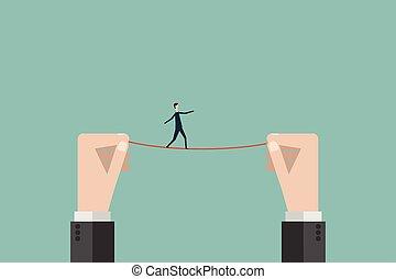 finance., strategia, drut, ryzyko, handlowy, minimalista, niebezpieczeństwo, przewodnictwo, cele, symbol, linoskoczek, wagi, wysoki, wektor, nad, przechadzki, biznesmen, misja, style., człowiek
