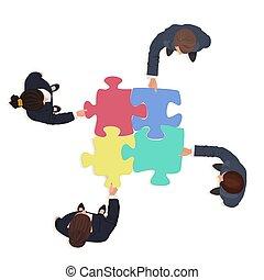 finanse, handlowy zaludniają, zagadka, wyrzynarka, rozłączenie, pieces., drużyna, concept.