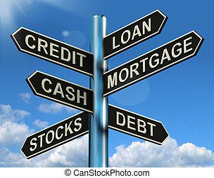 finanse, hipoteka, drogowskaz, pożyczka, zapożyczenie, kredyt, dług, pokaz