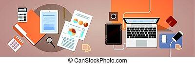 finanse, papier, prospekt, tabliczka, górny, komputer, wykres, kąt, laptop, informuje, dokumenty, miejsce pracy, biurko
