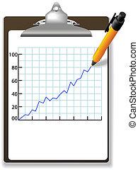 finansowa mapa morska, pióro, clipboard, wzrost, rysunek