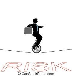 finansowe ryzyko, handlowy, na, linoskoczek, unicycle, człowiek