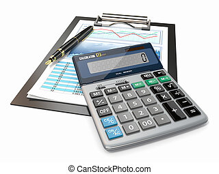 finansowy, concept., wykres, pen., kalkulator, pień
