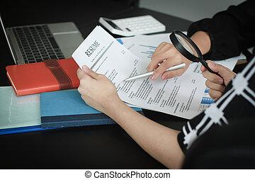 finansowy, dane, handlowy, szkło, powiększający, drużyna, analizując