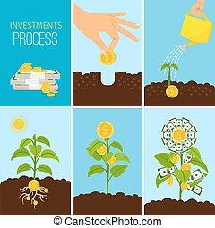 finansowy, handlowy, proces, pieniądze, concept., drzewo, ilustracja, wektor, wzrost, rozwój lokaty
