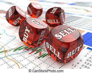 finansowy, jarzyna pokrajana w kostkę, concept., graph., targ, pień