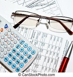 finansowy, kalkulator, -, papiery, zameldować, okulary