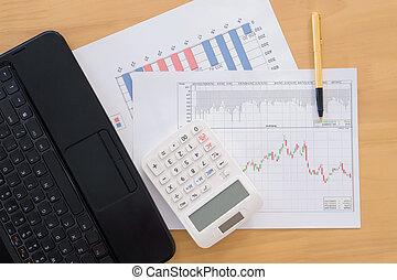 finansowy, kalkulator, wykresy, laptop, pióro, różny, stół