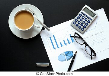 finansowy, kawa, dane
