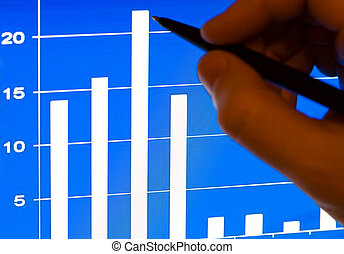 finansowy, laptop, stats, lcd
