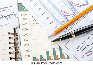 finansowy, pióro, pojęcie, dane