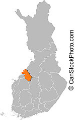 finlandia, mapa, ostrobothnia, highlighted, główny