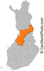 finlandia, mapa, ostrobothnia, highlighted, północny