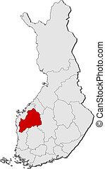 finlandia, mapa, ostrobothnia, highlighted, południowy