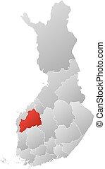 finlandia, mapa, ostrobothnia, -, południowy