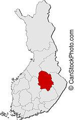 finlandia, mapa, savonia, highlighted, północny