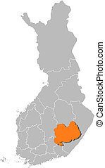 finlandia, mapa, savonia, highlighted, południowy