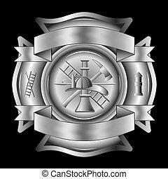 firefighter, krzyż, srebro