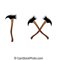 firefighter, logo, siekiery, drewniany, krzyżowany, krzyż, siekiera