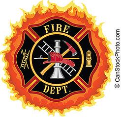 firefighter, płomienie, krzyż