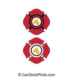 firefighter, wektor, logo, zwyczaj, maltańczyk, projektować, symbol, krzyż