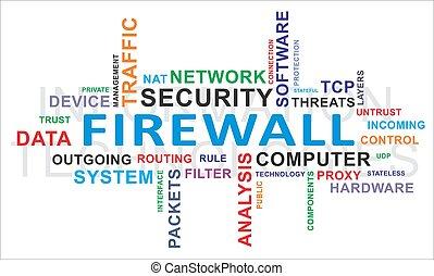 firewall, słowo, -, chmura