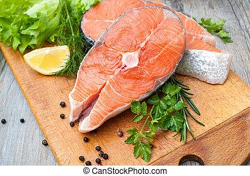fish, łosoś, płaty